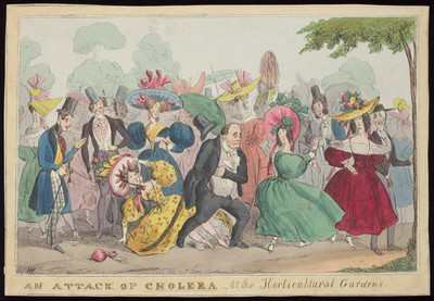 Visitors to the Horticultural Society of London's gardens in Chiswick, among whom is a man who rushes off believing he has an attack of the cholera. Coloured etching by H. Heath, 1831.
