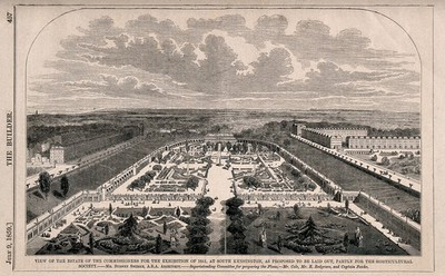 The site of the 1862 Exhibition, as designed for the Horticultural Society: aerial view, looking north. Wood engraving, 1859.