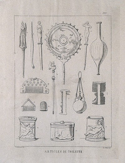 Ancient Roman (?) toilet accessories: sixteen figures, including combs, a mirror and various containers. Etching by A. Ottieri after V. Mollame, 18--?