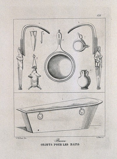 Ancient Roman (?) bath and bathing accessories: nine figures, including scrapers and oil containers. Etching by A. Ottieri after V. Mollame, 18--?