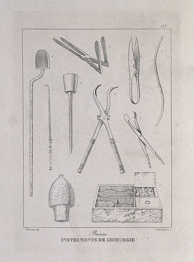 Ancient Roman (?) bronze surgical instruments: ten figures. Etching by P. Amendola after V. Mollame, 18--?