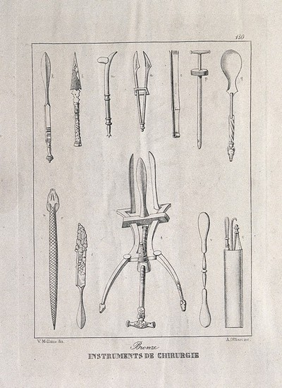 Ancient Roman (?) bronze surgical instruments: twelve figures, including a speculum. Etching by A. Ottieri after V. Mollame, 18--?