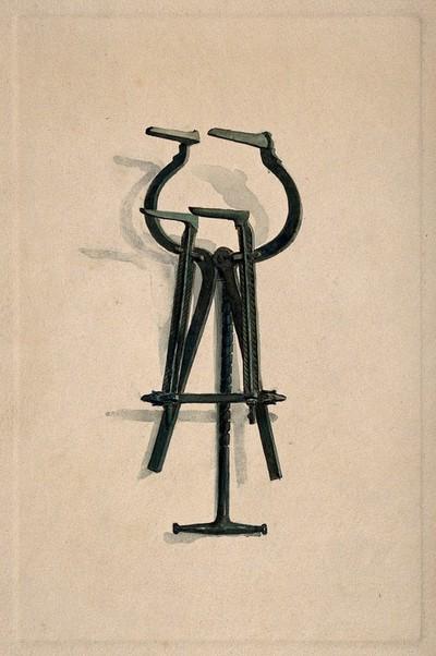 An ancient Roman surgical instrument. Watercolour, 1850/1910.