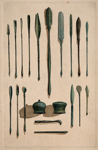 A selection of ancient Roman surgical instruments. Watercolour, 1850/1910.