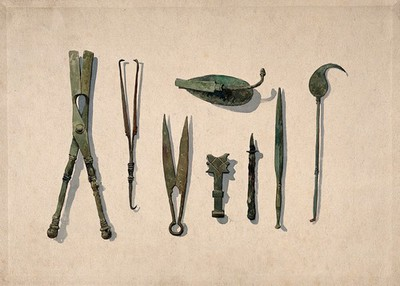 Eight ancient Roman surgical instruments. Watercolour, 1850/1910.