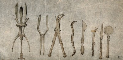 A selection of ancient Roman surgical instruments, discovered at Pompeii. Pen and ink with watercolour, 18--?