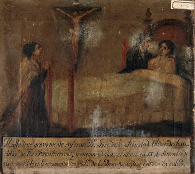 Don Jose de la Trinidad Oliva being cured by his parents' prayers. Oil painting by a Spanish painter, 1846.