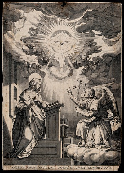 The Annunciation to the Virgin, who stands before a lectern. Engraving after F. Zuccaro.