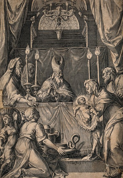 The presentation of Jesus to the high priest at the Temple. Engraving by C. Cort, 1568, after F. Zuccaro.
