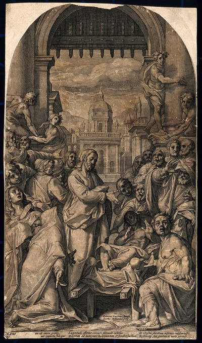 Christ raises the son of the widow of Nain from the dead. Engraving by J. Matham after F. Zuccaro.