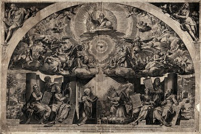 The annunciation with figures from the Old Testament. Etching by C. Cort after F. Zuccari, 1571.