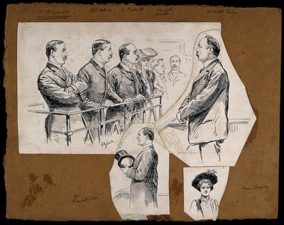 People involved in the trial for fraud against Edwin Marshall Fox. Drawing by G.K. Jones, 1905.