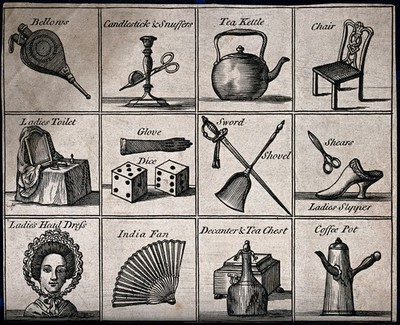Items of interest in learning depicted with their names. Etching.