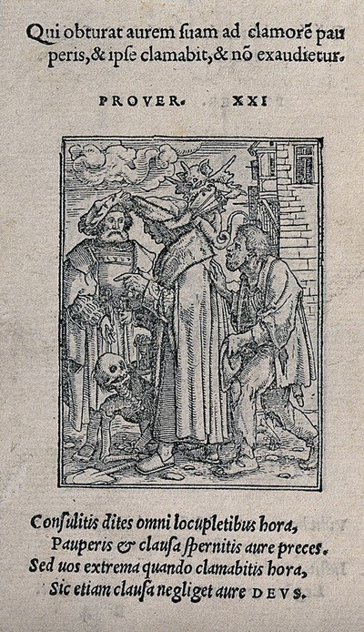 The dance of death: the senator. Woodcut by Hans Holbein the younger.