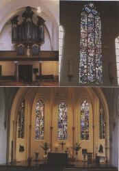 Orgel en glas-in-lood-ramen in de kerk van de parochie het Heilige Antonius Abt.