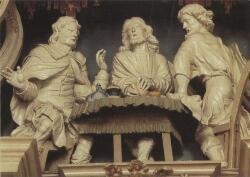 Capucijnenklooster Emmaus, beeldengroep van de Emmausgangers in de retabel van de kerk uit 1733.