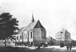 Tekening van de voormalige kerk en gemeentehuis.