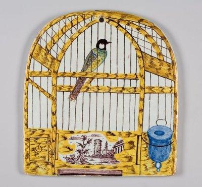 Plaque in de vorm van een vogelkooi
