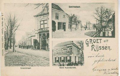 Briefkaart met drie afbeeldingen