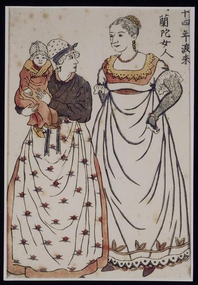 Mevrouw Titia Cock Blomhoff- Bergsmamet haar zoontje Johannes en de dienstmeid in Deshima. Japanse houtsnede.