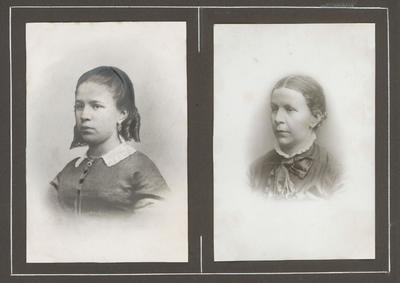 Twee portretten van onbekende vrouwen. De foto's zitten in een album van de Baarnsche Vélocipède-Club en de familie Pos.