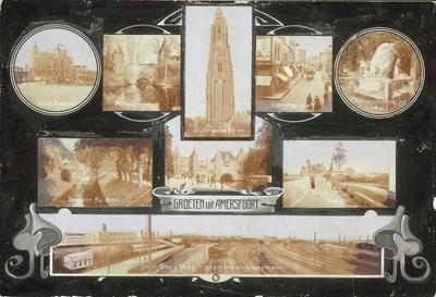 Fotocollage van verschillende Amersfoortse prentbriefkaarten. (De achterkant is geheel blanco.) Deze harde kaart werd waarschijnlijk in een enveloppe als groet           verstuurd.