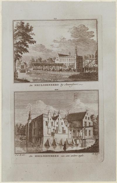 Twee aanzichten van het oorspronkelijke huis Heiligenberg bij Leusden. Kopergravures door Hendrik Spilman naar tekeningen van Jan de Beyer uit 1749, afkomstig uit           Nederlandsche Tafereelen, deel 9, nr.234, uitgegeven in 1774.