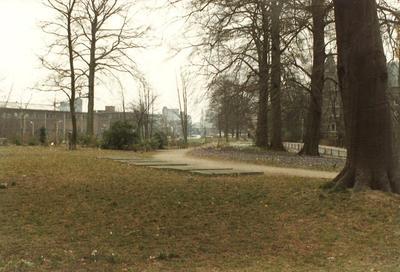 Plantsoen-West, Amersfoort. Enkele overgebleven grafstenen van de voormalige begraafplaats Achter Davidshof. Rechts is tussen de bomen het Sint Pieters en Bloklands Gasthuis           gedeeltelijk zichtbaar. Op de achtergrond industriële bebouwing met onder meer silo's van d'Eersteling en de Cova.