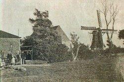 23f42ad6937 Voormalige poldermolen met woning Stienser Oudland; Personen op de foto:  vader en moeder Schuurmans