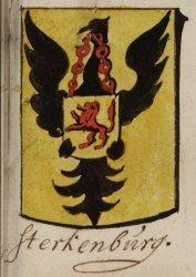 Sterkenburg (Starkenborg, Tziarda van) (Vaderlijke kwartieren Ludolf Tjaarda van Sterkenburg): in goud een zwarte adelaar, in de bek houdende een rode ketting waaraan voor           de borst van de adelaar een gouden schildje hangt, beladen met een rode leeuw.