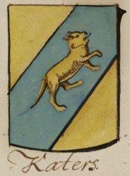 Katers (Cater) (Vaderlijke kwartieren Ludolf Tjaarda van Sterkenburg): in goud een blauwe linkerschuinbalk, beladen met een gaande omgewende gouden kater, geplaatst in de           richting van de schuinbalk.