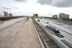 Forepark, trambaan in aanbouw over de A4, gezien naar het zuidoosten