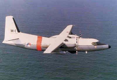 F-27 Maritime, registratie M-1, in de vlucht.