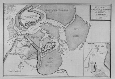 Reproductie oude zeekaart.