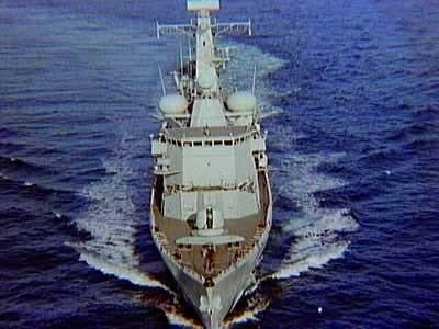 Luchtopname van fregat Hr.Ms. Van Nes (1994-2008), 1996