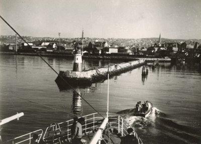 Opnemingsvaartuig Hr.Ms. Luymes (1952-1973), aankomst in Trondheim tijdens proefvaart