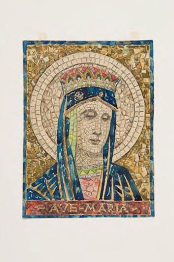 Ontwerptekening voor mozaïektableau 'Ave Maria'