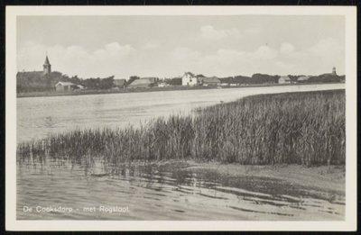 Het water van de Roggesloot met riet. Op de achtergrond De Cocksdorp.