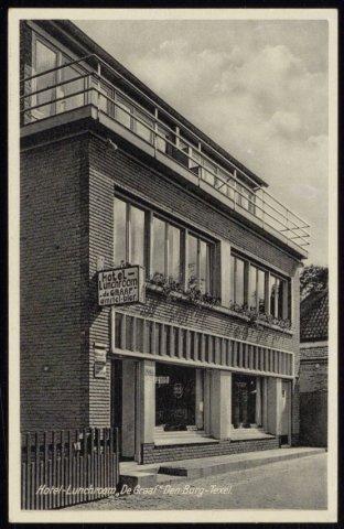 Hotel-lunchroom de Graaf, vermoedelijk omstreeks 1935.