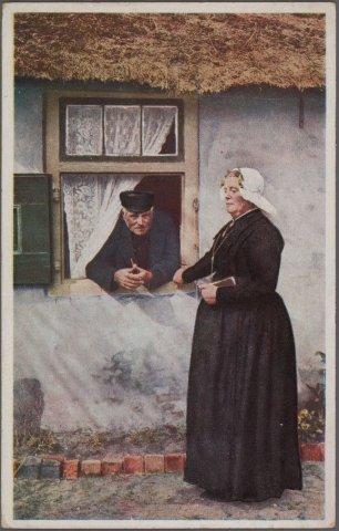 Kee de Graaf-Elders met man. Zij was de laatste vrouw in Blaricum die de officiële klederdracht dagelijks droeg en woonde aan de Langeweg 3.