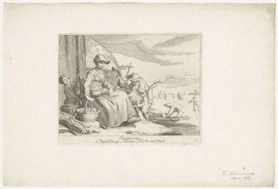 <i> Januarius: Afbeelding van een winterlandschap met verkoopstertje</i>