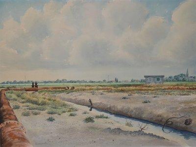 Gezicht op Kethel vanuit de Oostabtspolder. Rechts de toren van de Sint Jacobuskerk. Aquarel van Nico van Welzenes, afmetingen 73 x 93 cm.