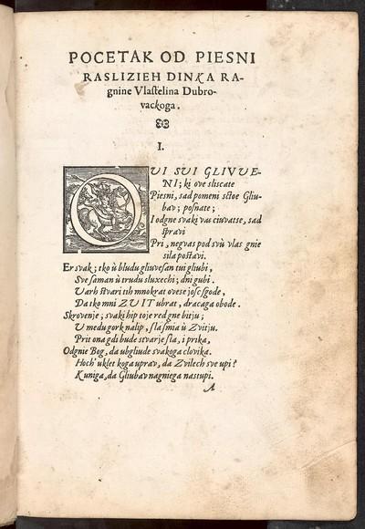 Piesni raslike Dinka Ragnine, Vlastelina Dvbrovackoga, V koih on kaxe sve sctose sgodimu stvoriti kros Gliubav, stoiech ù gradu latinskom, od Zangle
