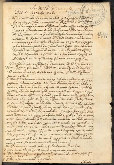 Meditationes Grammaticales pro Lingua Slavonica...