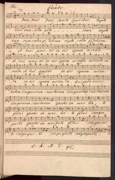 Veni Sancte Spiritus ex D# a Canto, Alto, Tenore, Basso, Violinis Duobus Clarinis Duobus con Organo, Del Sig: Fran: Xave: Brixi, Ex Musicalibus Martini Jose: Joach: Strachota mpria