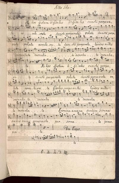 Aria ex C. pro omni Festo. ab Alto Solo Violino Primo Violino Secundo Alto Viola con Fondamento. Del: Sig: Brixi. Ex Musicalibus Josephi Cyrilli Strachota mpia.
