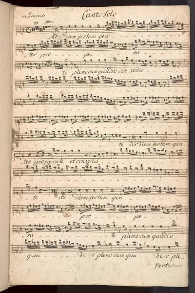 Aria pro omni tempore ex G. a Canto Solo, Violino Primo, Violino Secundo, AltoViola, con Organo. Del Sig: Brixi. Ex Musicalibus Josephi Cyrilli Strachota mppria.