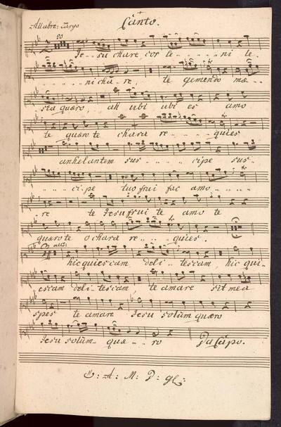 Duetto ex B pro omni tempore a Canto et Alto Violino Primo Violino Secundo Alto Viola obligata con Organo. Del: Sig: Brixi. Ex Musicalibus Josephi Cyrilli Strachota mpia.