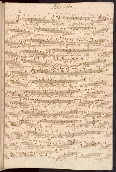 Aria ex C De omni Tempore ab Alto Solo. Violinis Duobus Alto Viola con Organo f. Del Sigr Franc: Xave: Brixi Ex Musicalibus Erhardis Jac Joan nepo Strachota