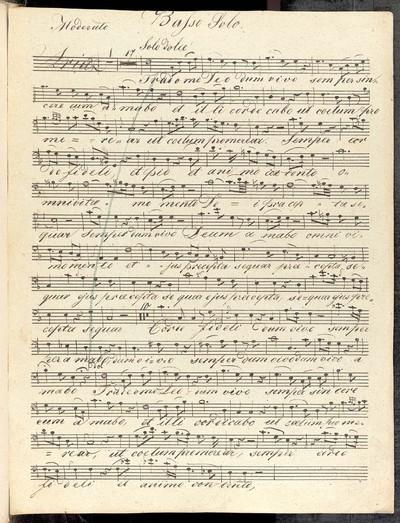 Aria in F. a Basso Solo con Clarinetto B solo. Violino 1mo et IIdo Alto Viola Oboe 1mo et IIdo Cornuo 1mo et IIdo in F Fagotto vel Violoncello Oblig Contra=Basso. dell V. Maschek W. Michowsky
